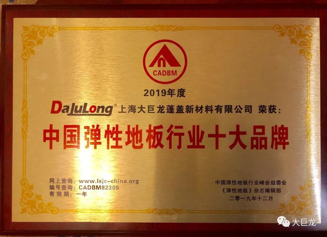 """热烈祝贺大巨龙联系多年获得""""中国弹性地板行"""